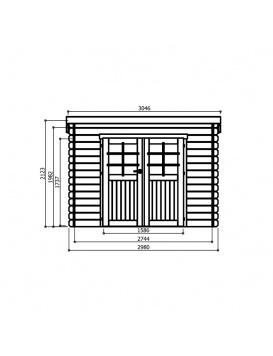 Dimension de l abri de jardin RIOM, Dimensions de face