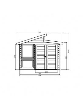Dimensions de face abri de jardin Merano