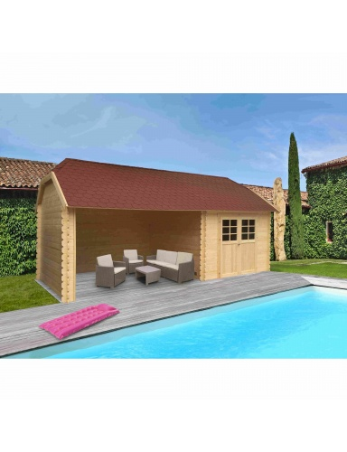 Abri de jardin York avec une belle piscine dans un beau jardin
