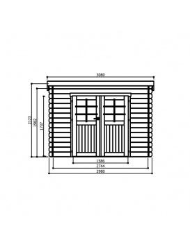 Dimensions de face abri de jardin Brest