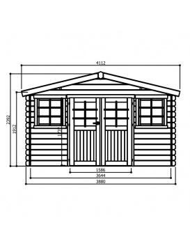 Plan dimensions abri de jardin Dole Chester Garden